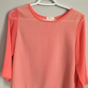 Coral colour top , 3/4 sleeves